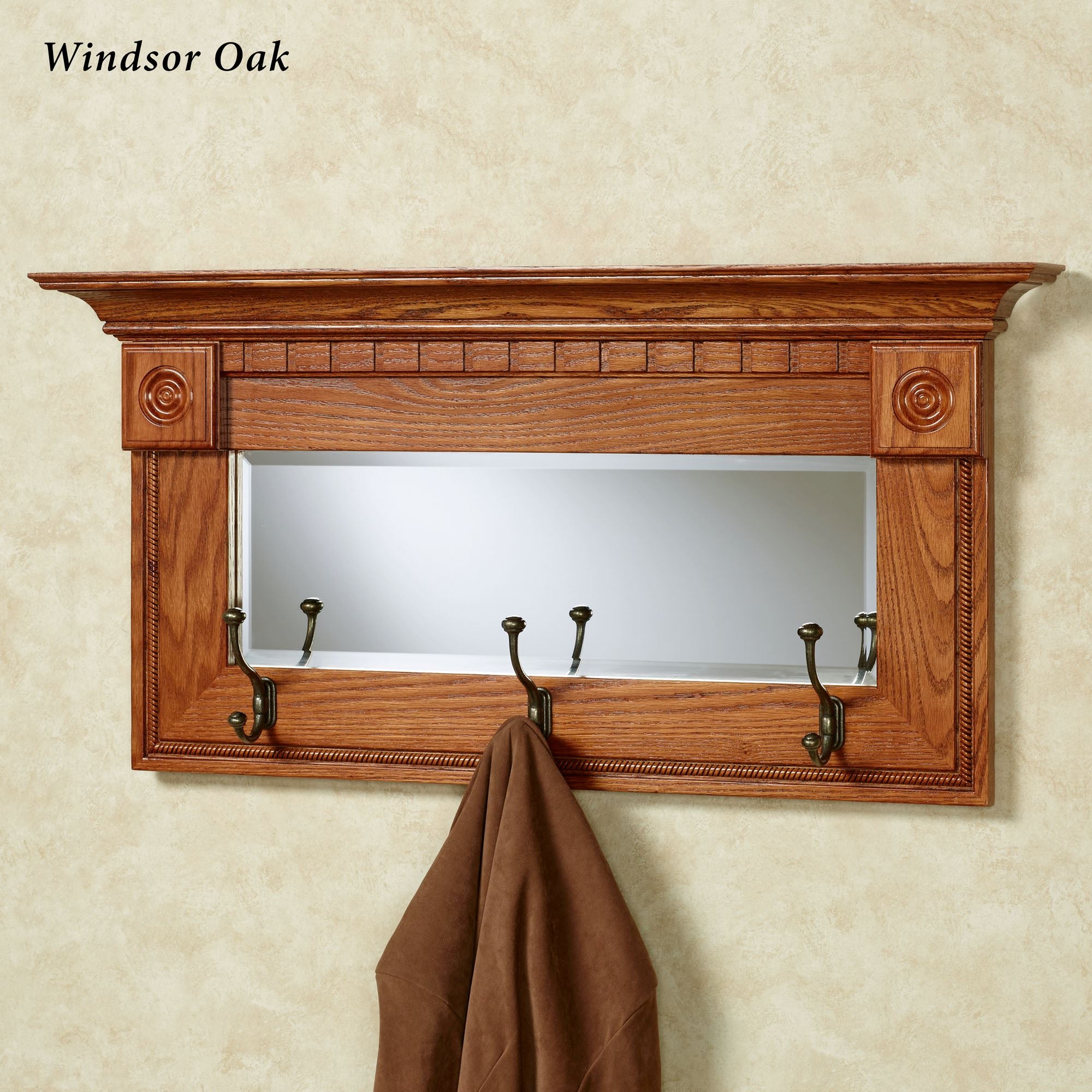 Dentil Pediment Wall Mirror With Hooks Intended For Oak Wall Mirrors (Image 2 of 15)