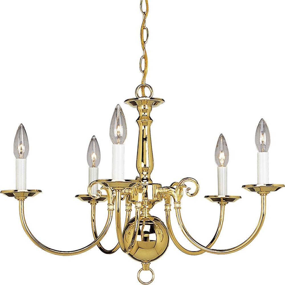Design House Millbridge 5 Light Polished Brass Chandelier 500546 Intended For Traditional Brass Chandeliers (Image 7 of 15)