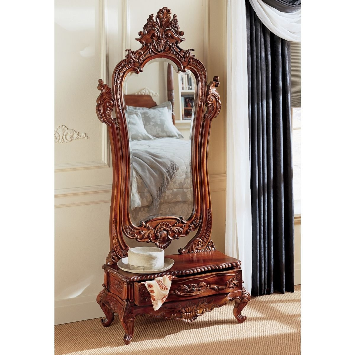 Design Toscano Victorian Dressing Mirror Reviews Wayfair Within Dressing Mirror (Image 6 of 15)