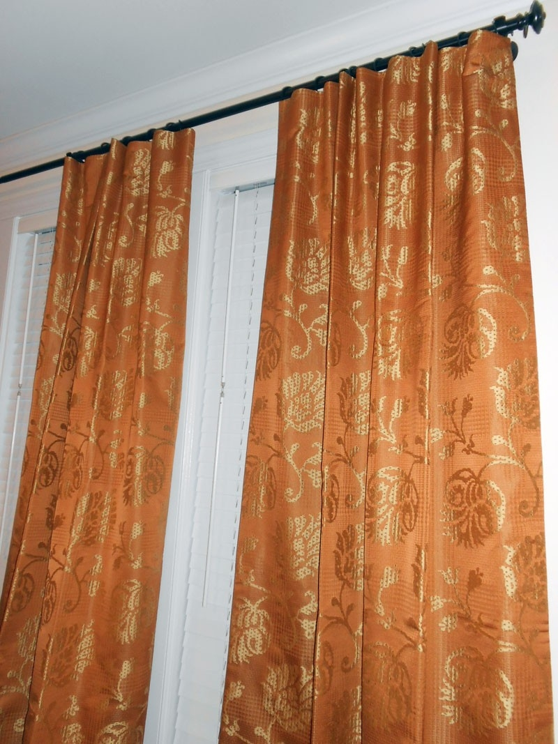 Designer Silky Drapes Woven Floral Design Curtains Orange Gold With Silky Curtains (Image 5 of 15)