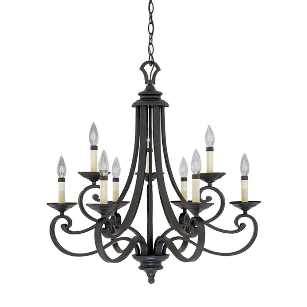 Designers Fountain Monte Carlo 9 Light Hanging Natural Iron Inside Iron Chandelier (Image 7 of 15)