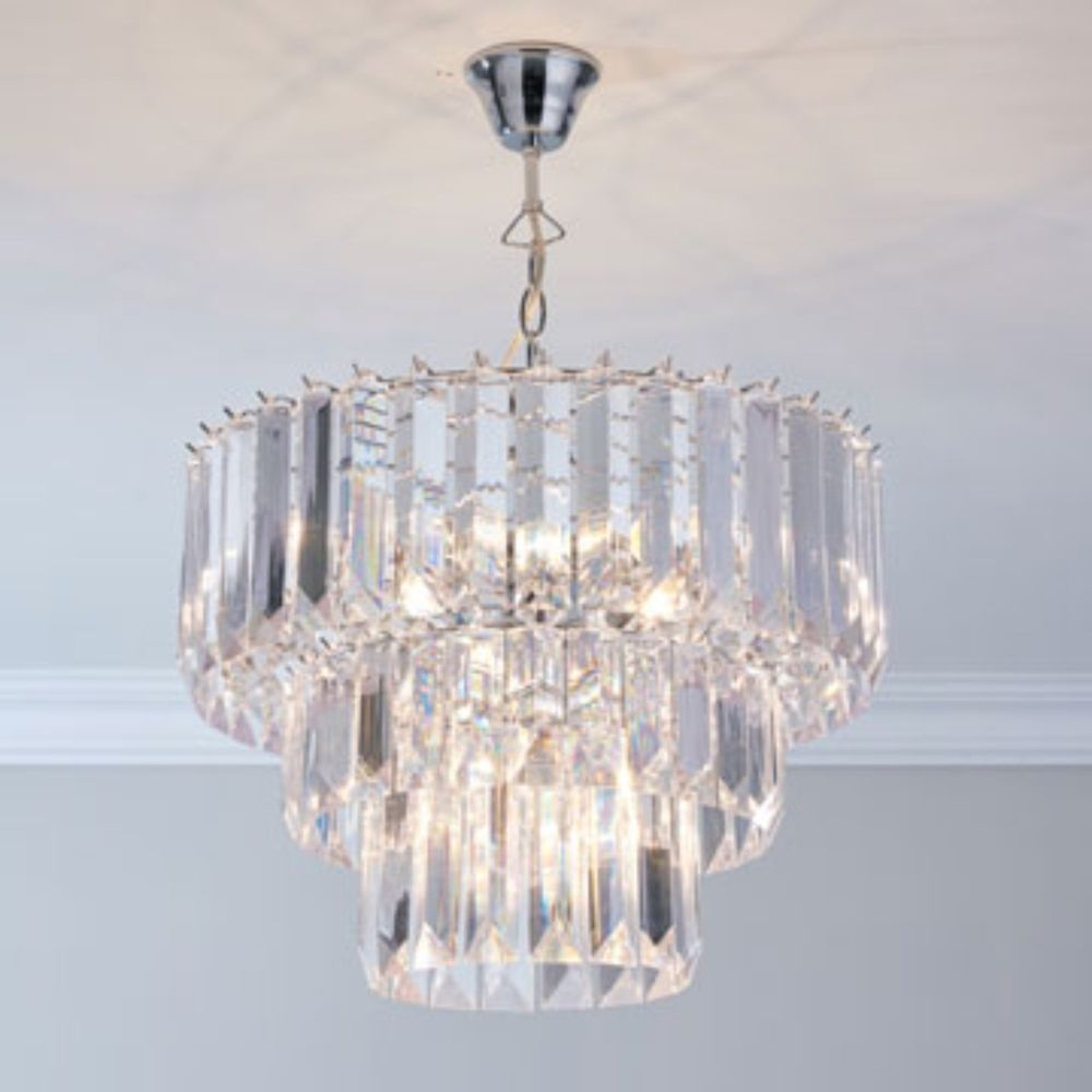 Details About 3 Tier Large Crystal Acrylic Chatsworth Prisms For 3 Tier Crystal Chandelier (View 8 of 15)