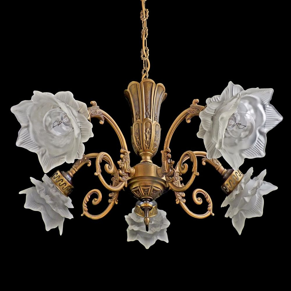 Details About Antique Ornate French Art Nouveaudeco Art Glass Throughout Ornate Chandeliers (Image 7 of 15)