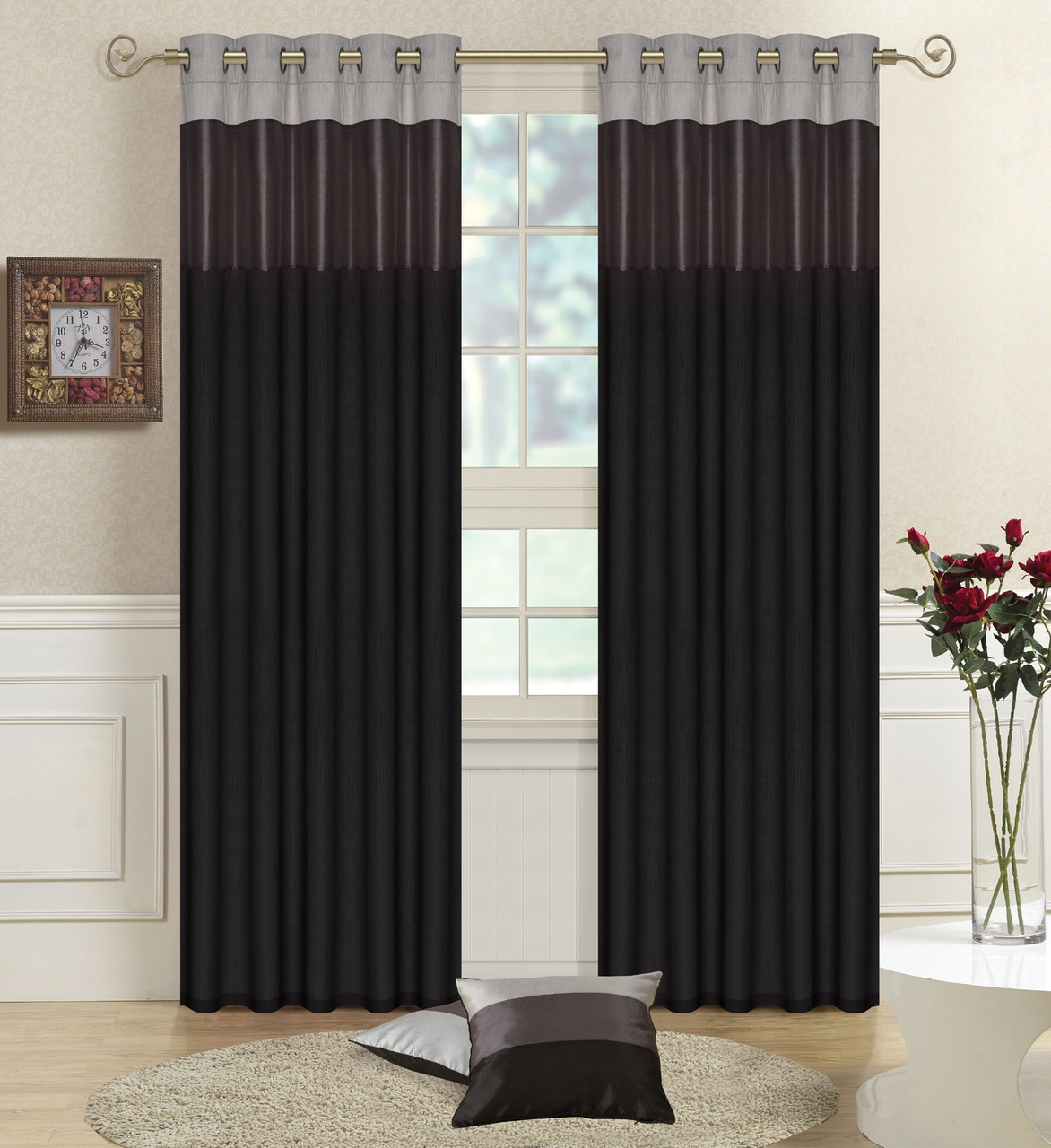 Details About Black Greysilver Faux Silk Three Tone Fully Lined In Silky Curtains (Image 6 of 15)