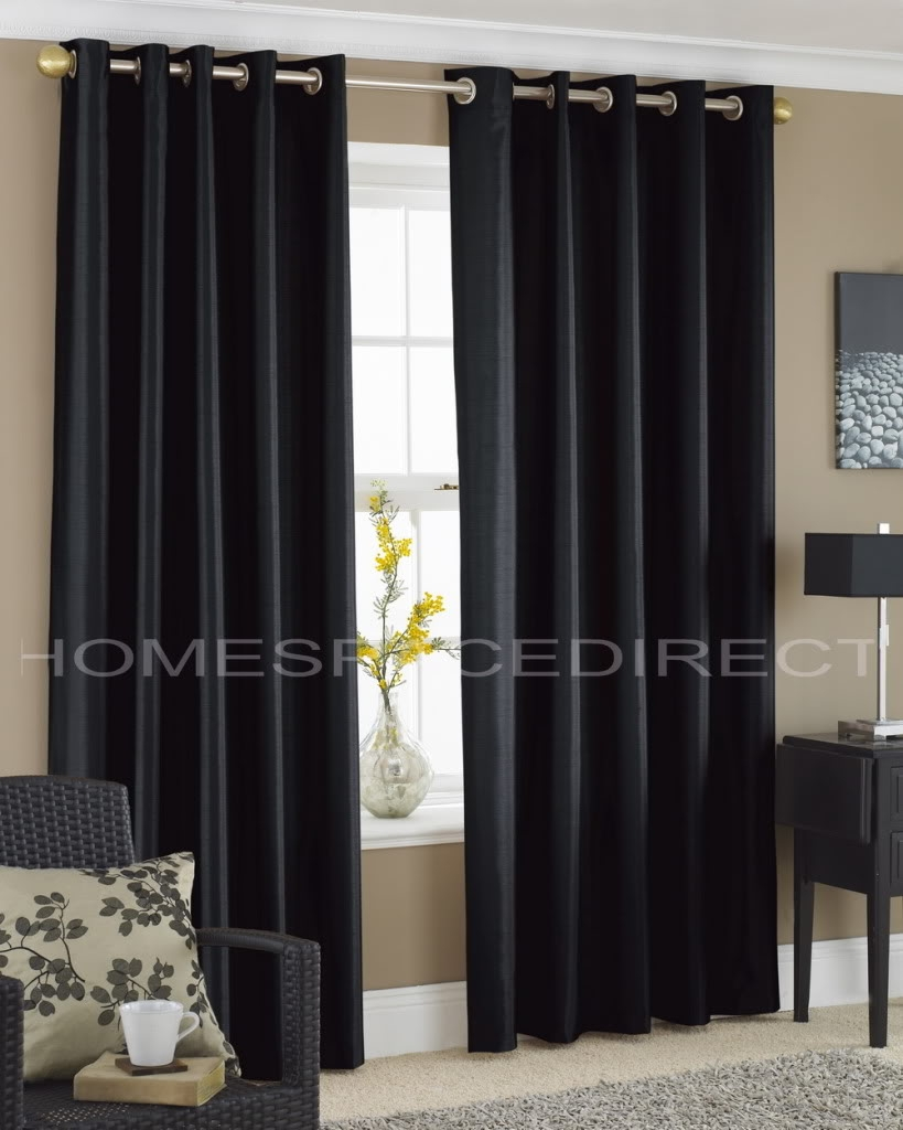 Details About Faux Silk Eyelet Curtains Silver Red Cream Teal Within Black And Brown Curtains (View 5 of 15)