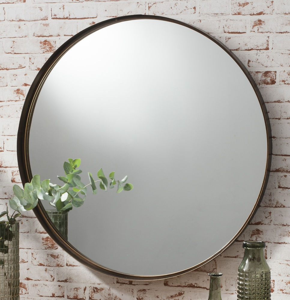 Details About Greystoke Large Bronze Round Wall Mirror 33 In Large Black Round Mirror (Image 5 of 15)