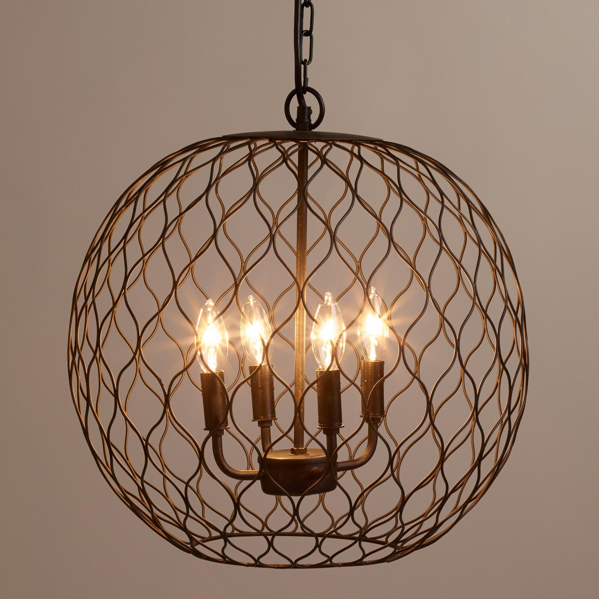 Details About Modern Chandelier Lighting Globe 4 Lights Wood For Chandelier Globe (Image 5 of 15)