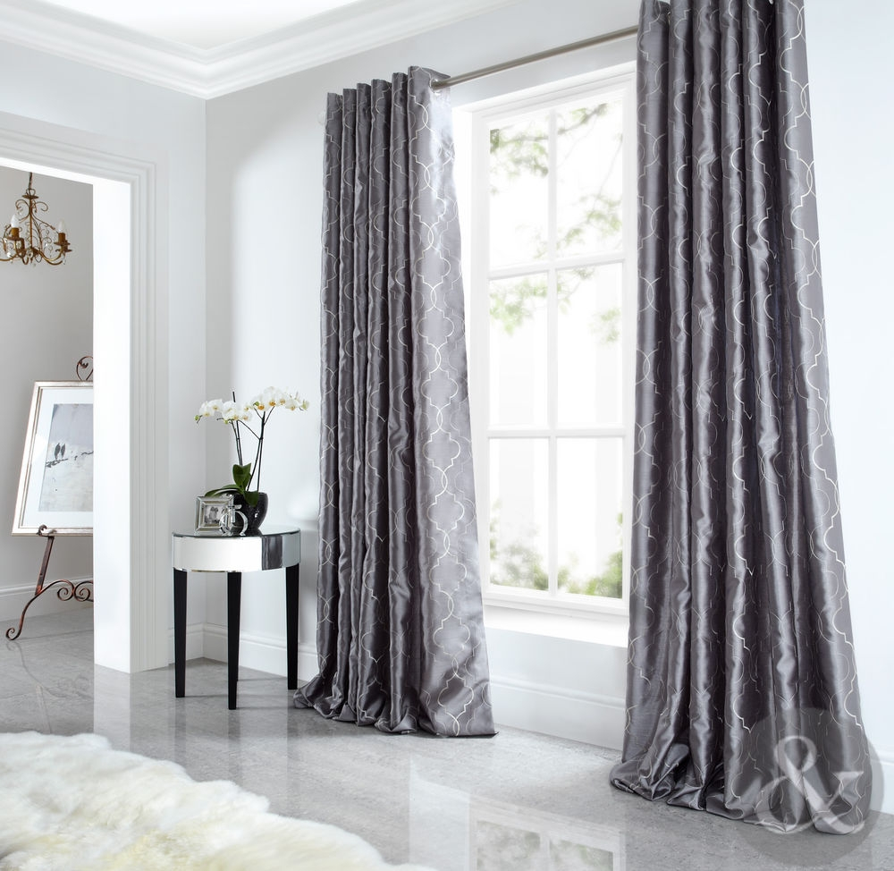 Details About Sicily Curtains Luxury Faux Silk Silver Grey Throughout Long Eyelet Curtains (Image 3 of 15)