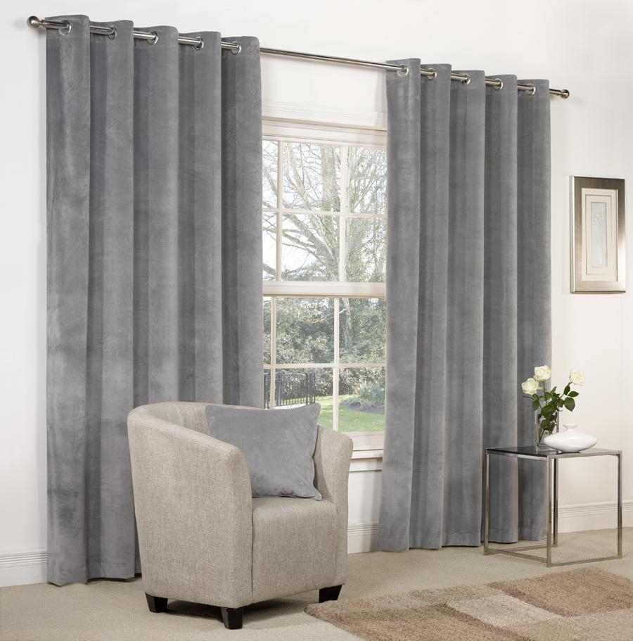 Details About Velvet Ringtop Lined Window Door Curtains Brown With Regard To Velvet Door Curtain (Image 4 of 15)