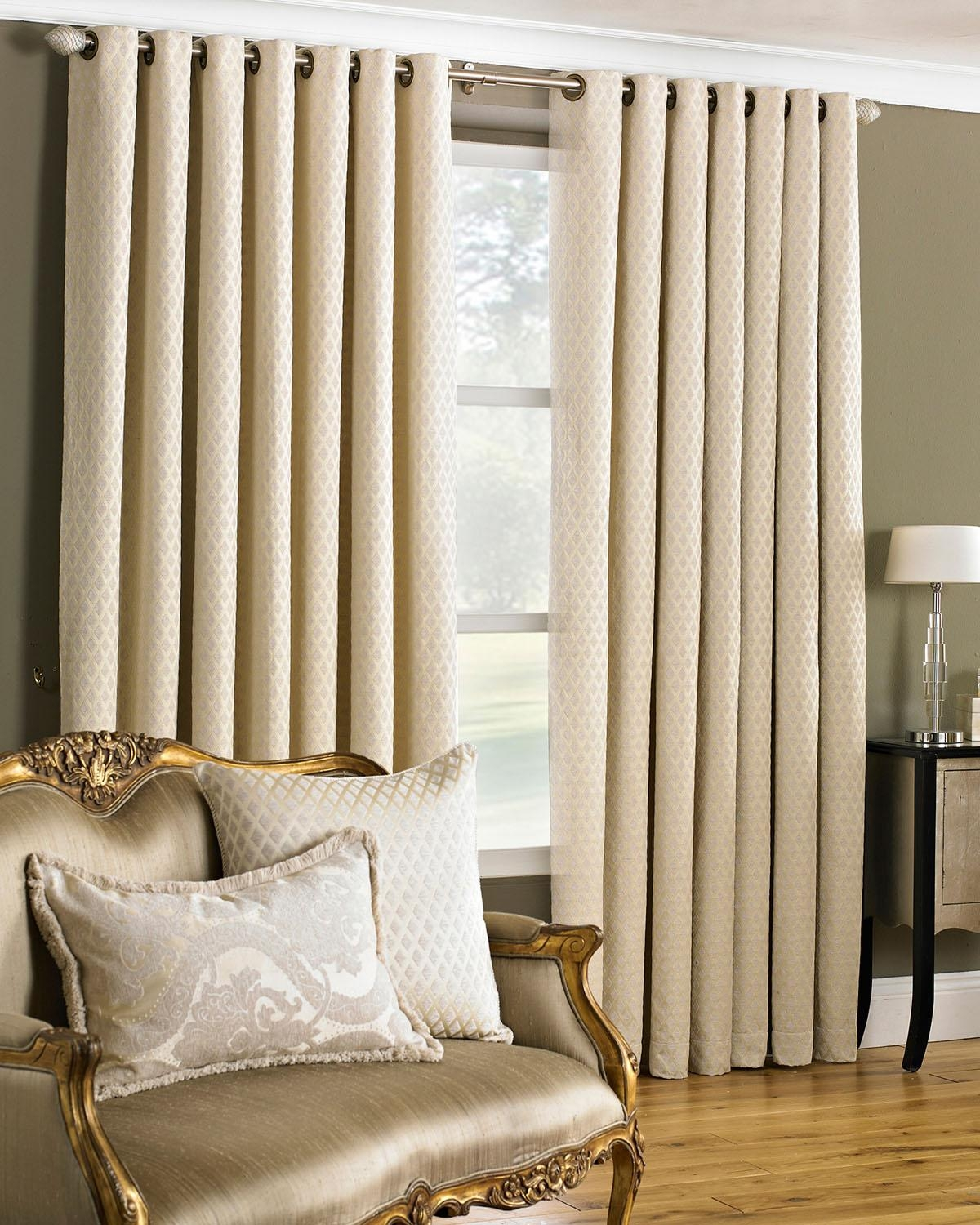 Devere Eyelet Curtains In Cream Free Uk Delivery Terrys Fabrics In Cream Lined Curtains (Image 4 of 15)