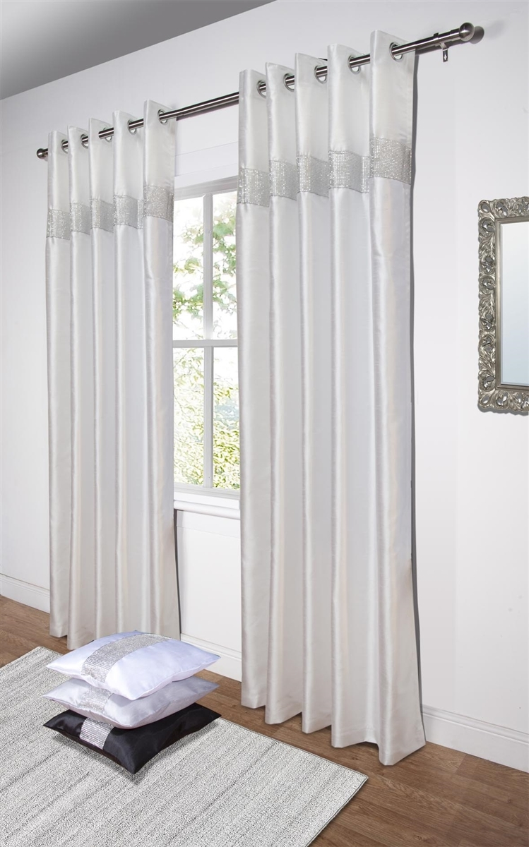 Diamante Fully Lined White Faux Silk Ready Made Eyelet Curtains With Silk Ready Made Curtains (Image 1 of 15)
