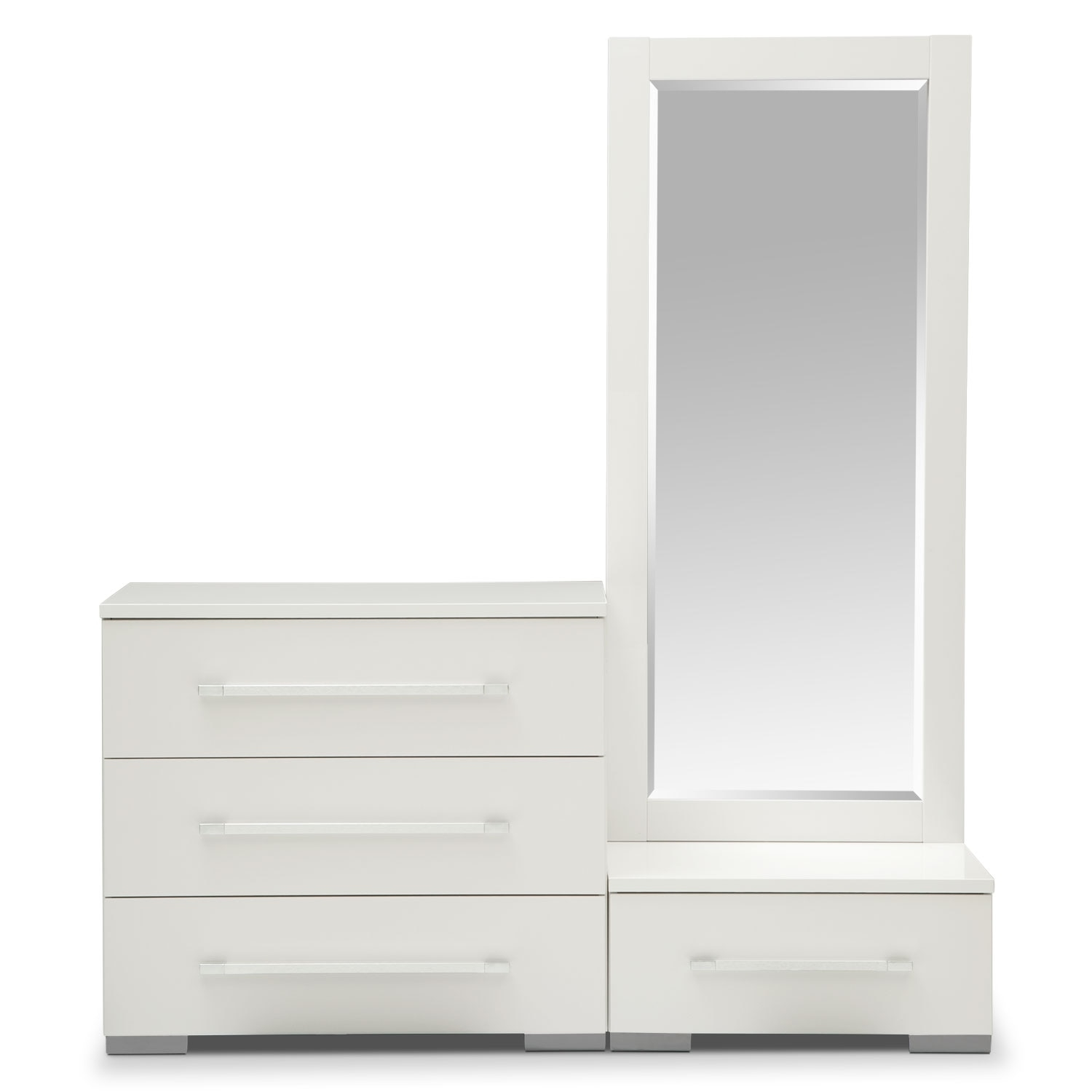Dimora Dressing Dresser And Dressing Mirror With Step White Regarding Dressing Mirror (Image 7 of 15)