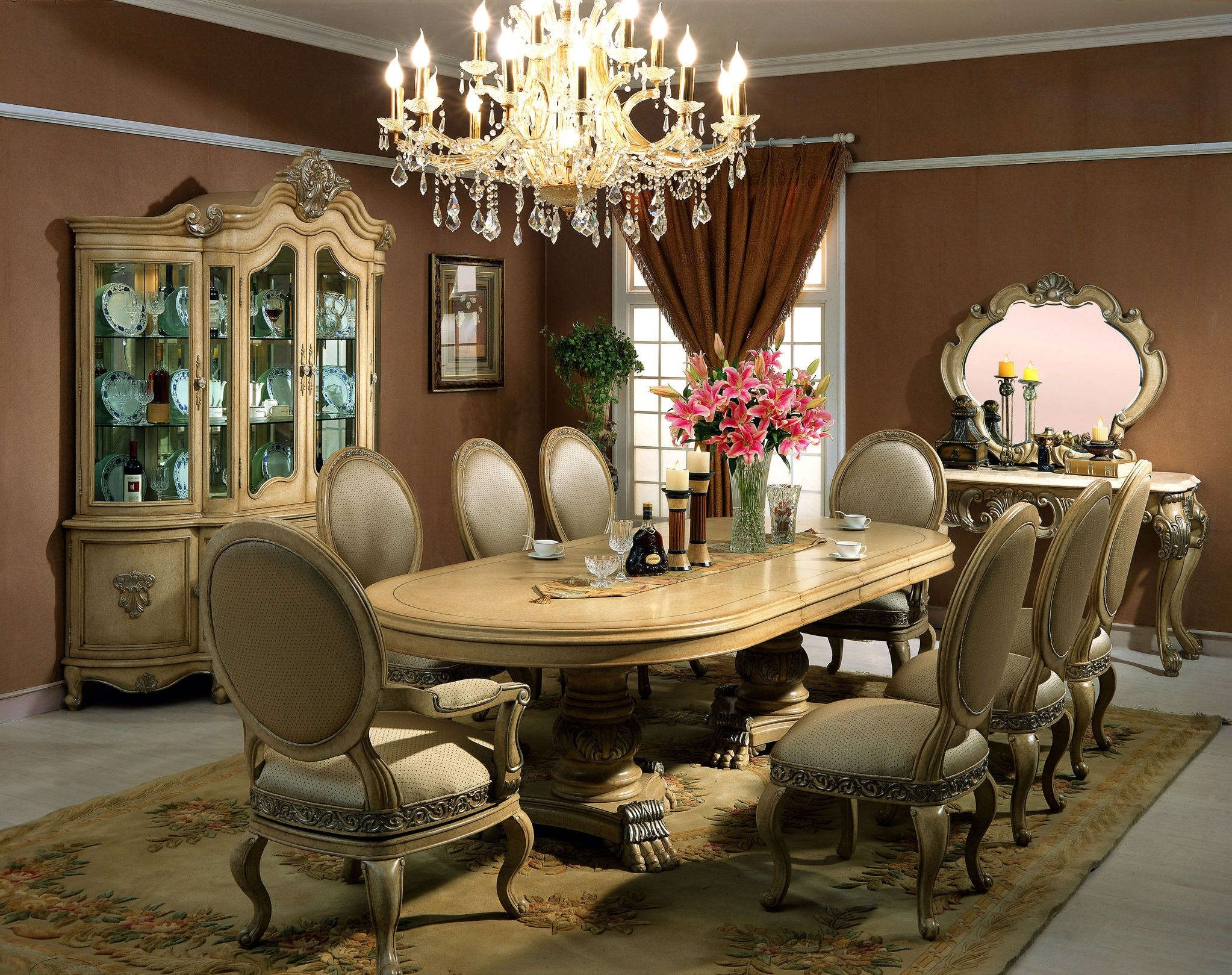 Dining Room Dining Chair Also Antique Crystal Chandelier Elegant Throughout Cream Crystal Chandelier (Image 8 of 15)
