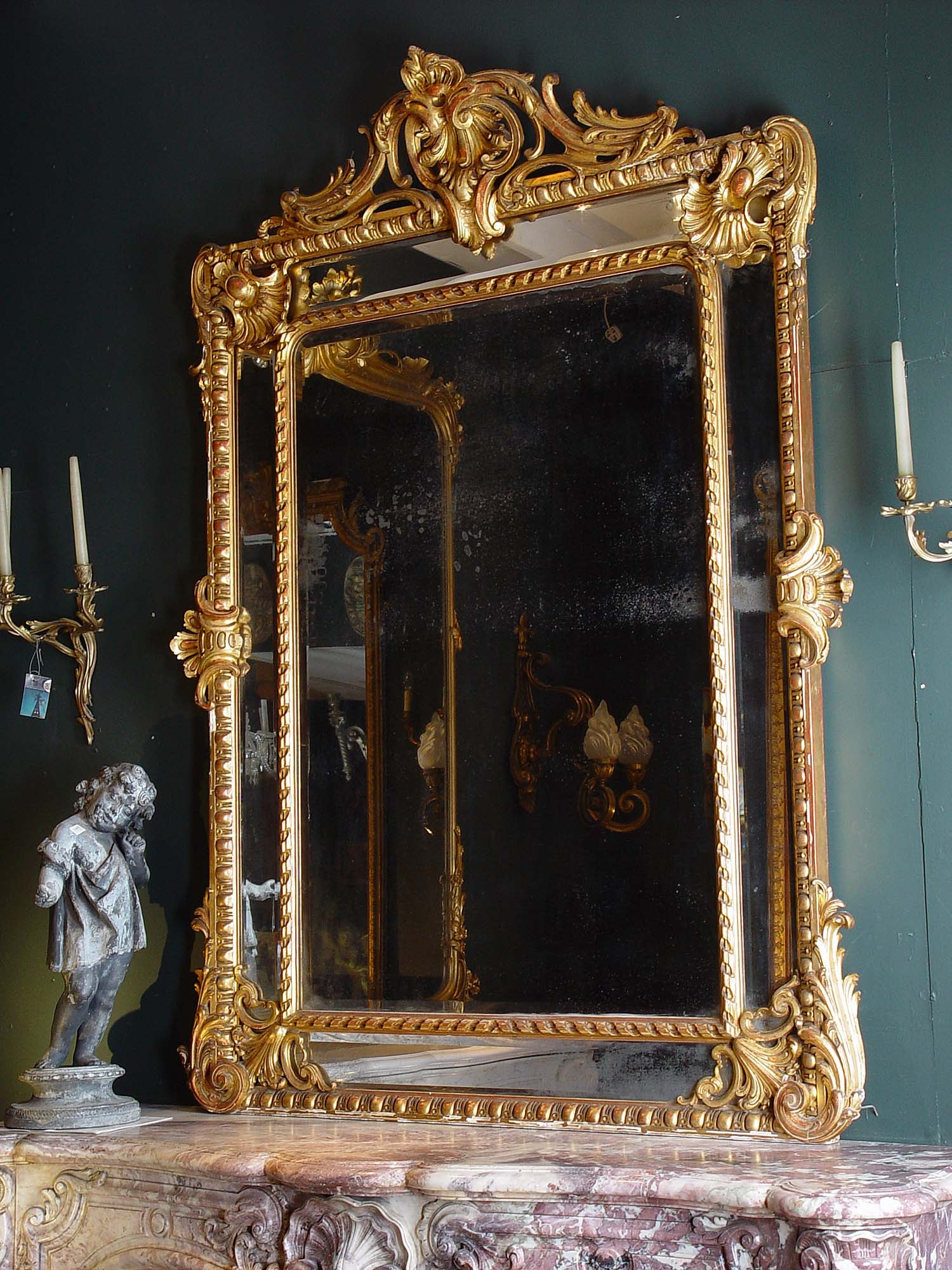 Dining Room Mirror Antique Mirrors Antique Large French Gilded Throughout Antique Gilded Mirror (Image 12 of 15)