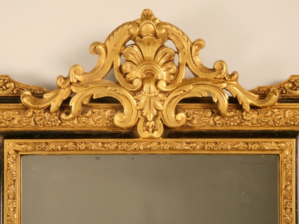 Distinctive Antique French Louis Xvi Gilt Mirror Webony Accents Throughout Antique Gilt Mirrors (Image 10 of 15)