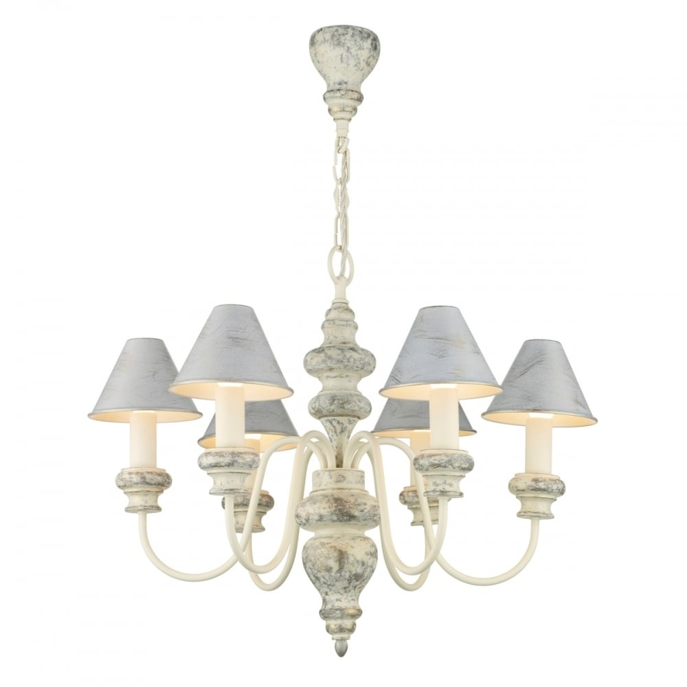 Distressed Cream Edwardian Chandelier With Matching Candle Shades In Edwardian Chandelier (Image 5 of 15)