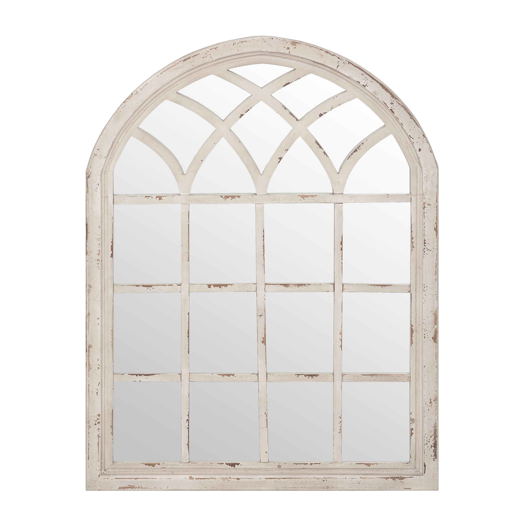 Distressed Cream Sadie Arch Mirror Kirklands 35×45 125 Regarding Distressed Cream Mirror (Image 8 of 15)