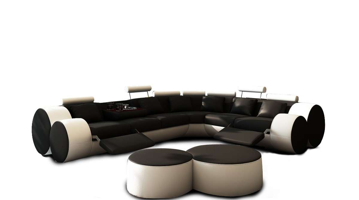 Divani Casa 3087 Modern Black And White Leather Sectional Sofa Regarding Black And White Sectional Sofa (Image 8 of 15)