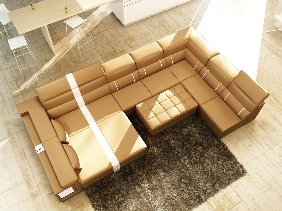 Divani Casa 6144 Modern Camel And White Leather Sectional Sofa Within Camel Sectional Sofa (View 4 of 15)