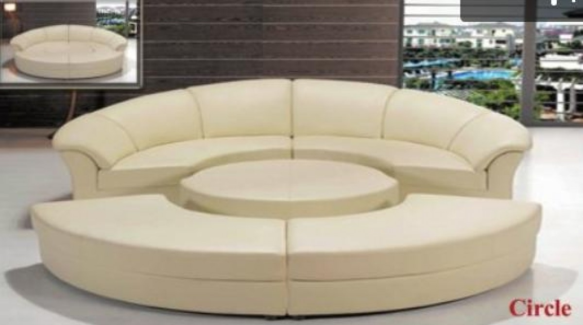 Divani Casa Circle Modern Leather Circular Sectional 5 Piece In Circle Sectional Sofa (Image 5 of 15)