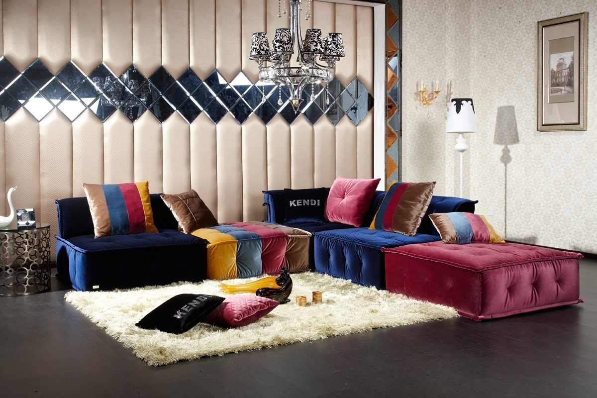 Divani Casa Dubai Contemporary Fabric Sectional Sofa In Colorful Sectional Sofas (View 6 of 15)