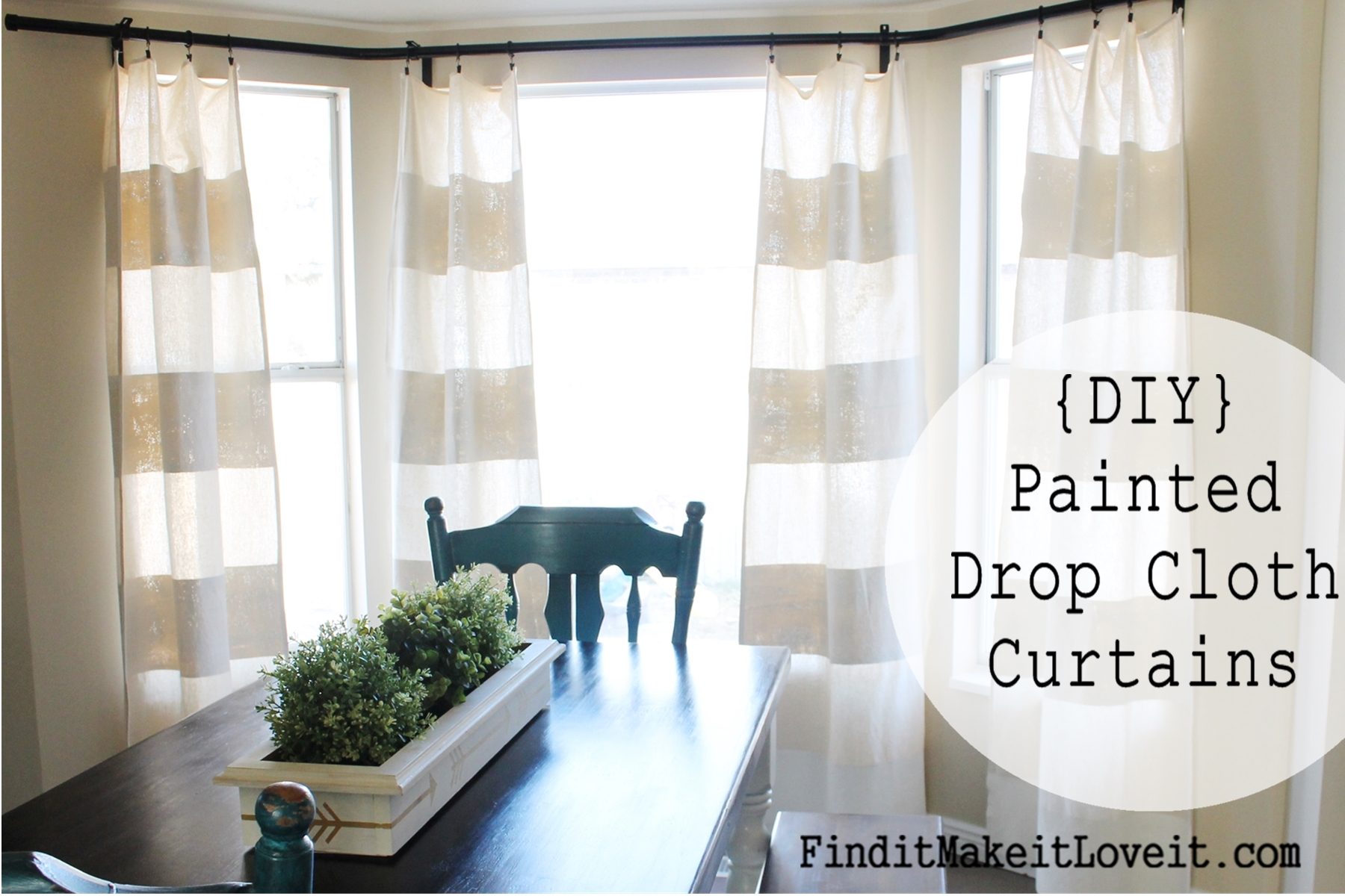 Diy Painted Drop Cloth Curtains Find It Make It Love It Within 8 Ft Drop Curtains (Image 8 of 15)