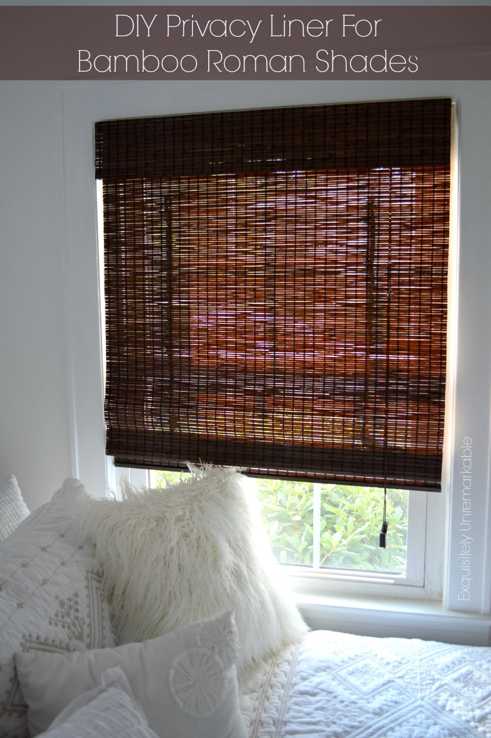 Diy Privacy Liner For Bamboo Roman Shades Exquisitely Unremarkable Inside Roman Blinds With Blackout Lining (Image 6 of 15)