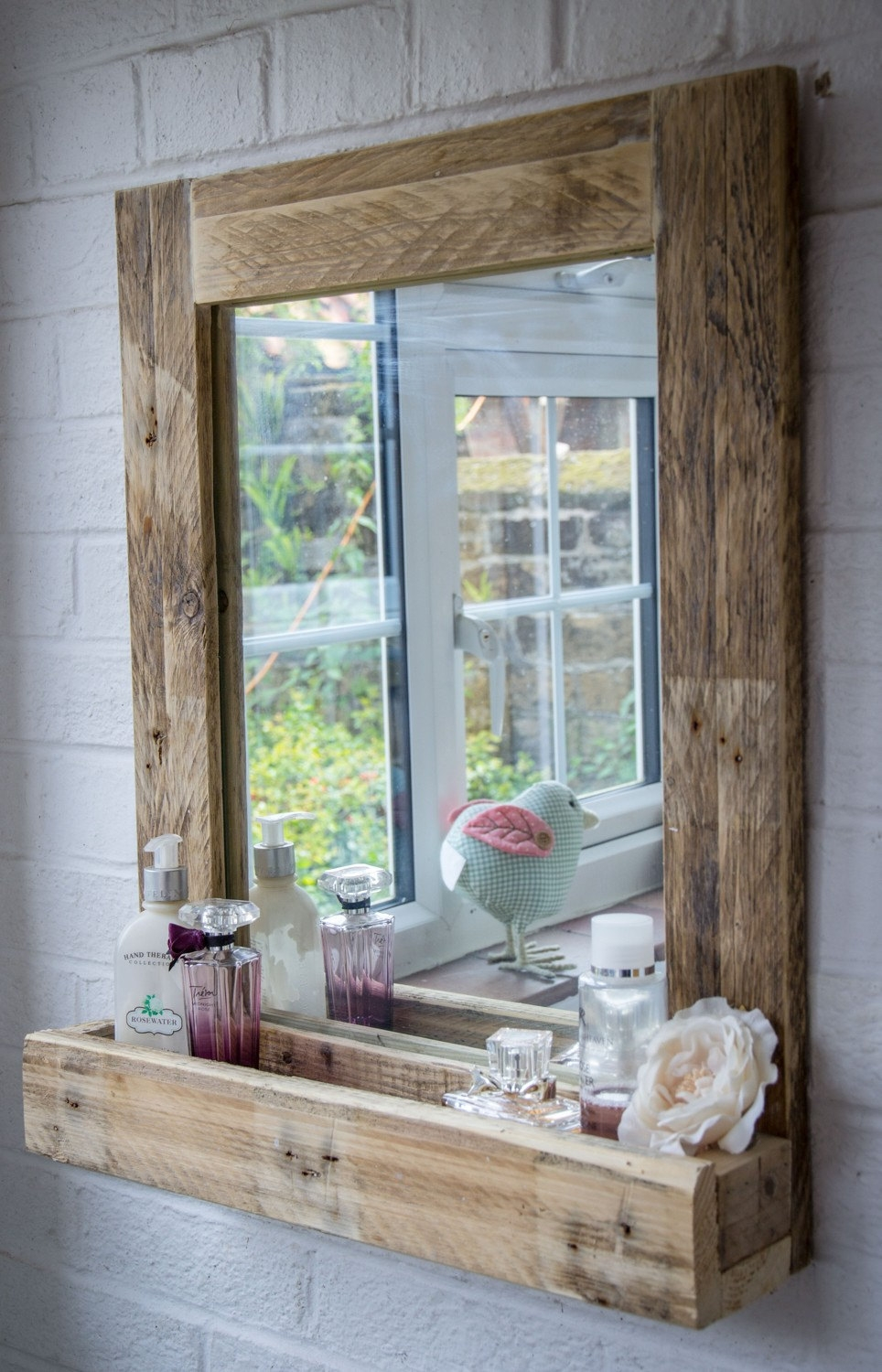 Diy Rustic Mirror Shelf Rustic Mirrors Throughout Rustic Oak Framed Mirrors (Image 4 of 15)