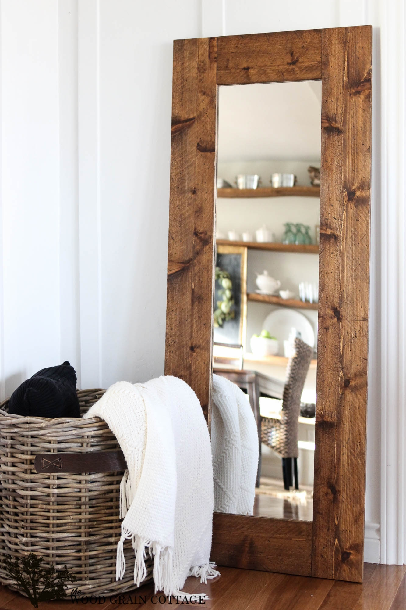 Diy Wood Framed Mirror The Wood Grain Cottage Within Rustic Oak Framed Mirrors (Image 5 of 15)