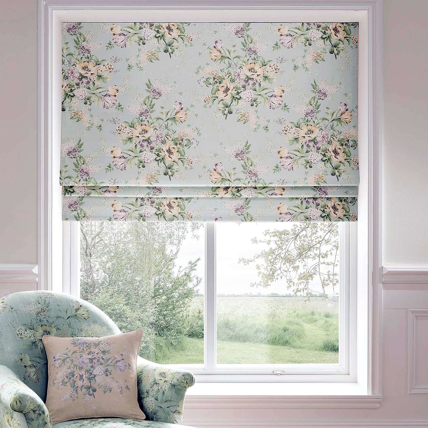 Dorma Brympton Duck Egg Roman Blind Dunelm Curtains Intended For Gingham Roman Blinds (View 11 of 15)