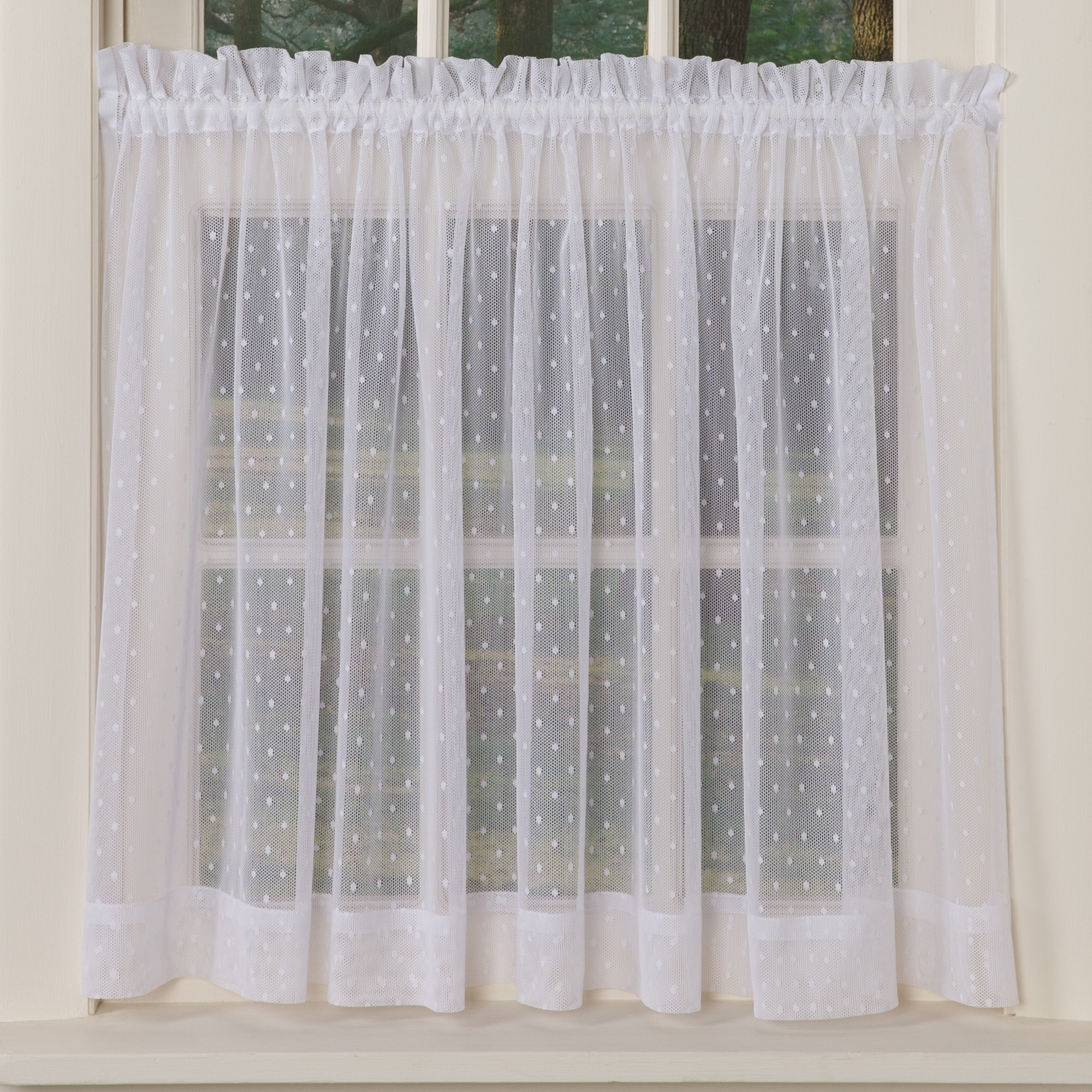 Dotted Sheer Curtains Sturbridge Yankee Workshop Throughout White Sheer Cotton Curtains (Image 6 of 15)
