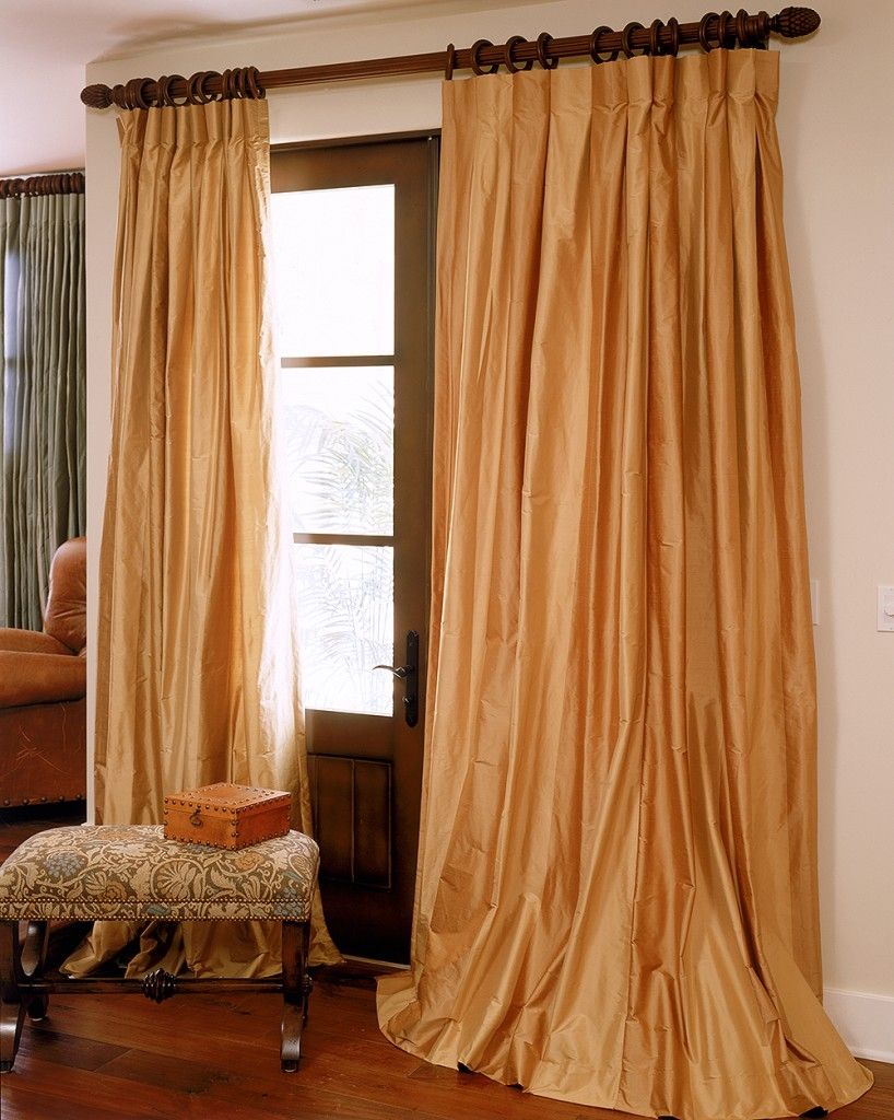 Double Bordered Silk Curtains Drapes Archives Drapestyle Inside Orange Silk Curtains (Image 2 of 15)