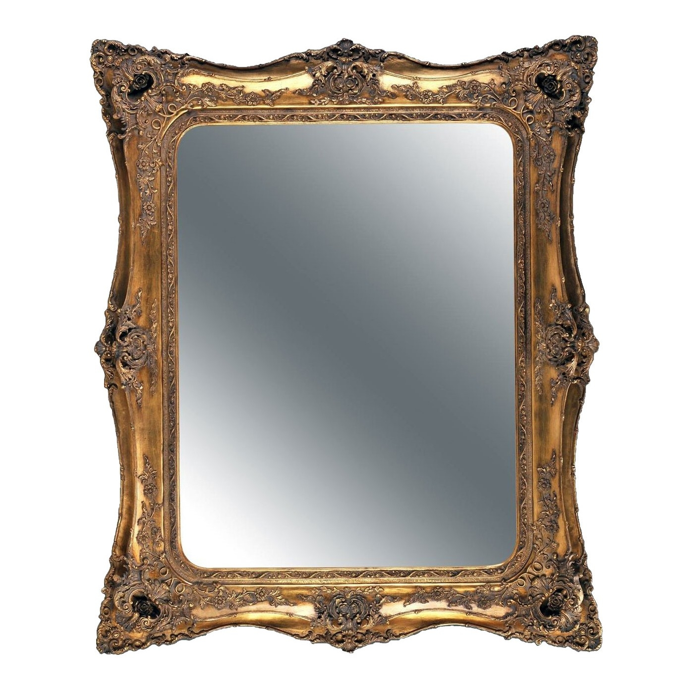 Double Level Ornate Mirror In Gold Inside Mirror Ornate (Image 3 of 15)