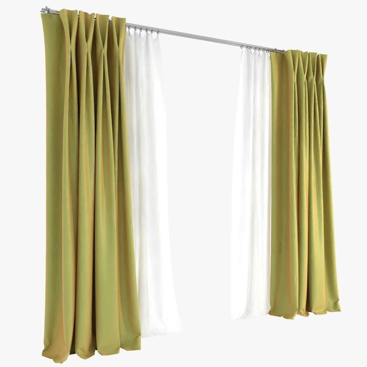Double Pinch Pleat Curtains 3d Model Max Obj Fbx Mtl In Double Pinch Pleat Curtains (Image 3 of 15)