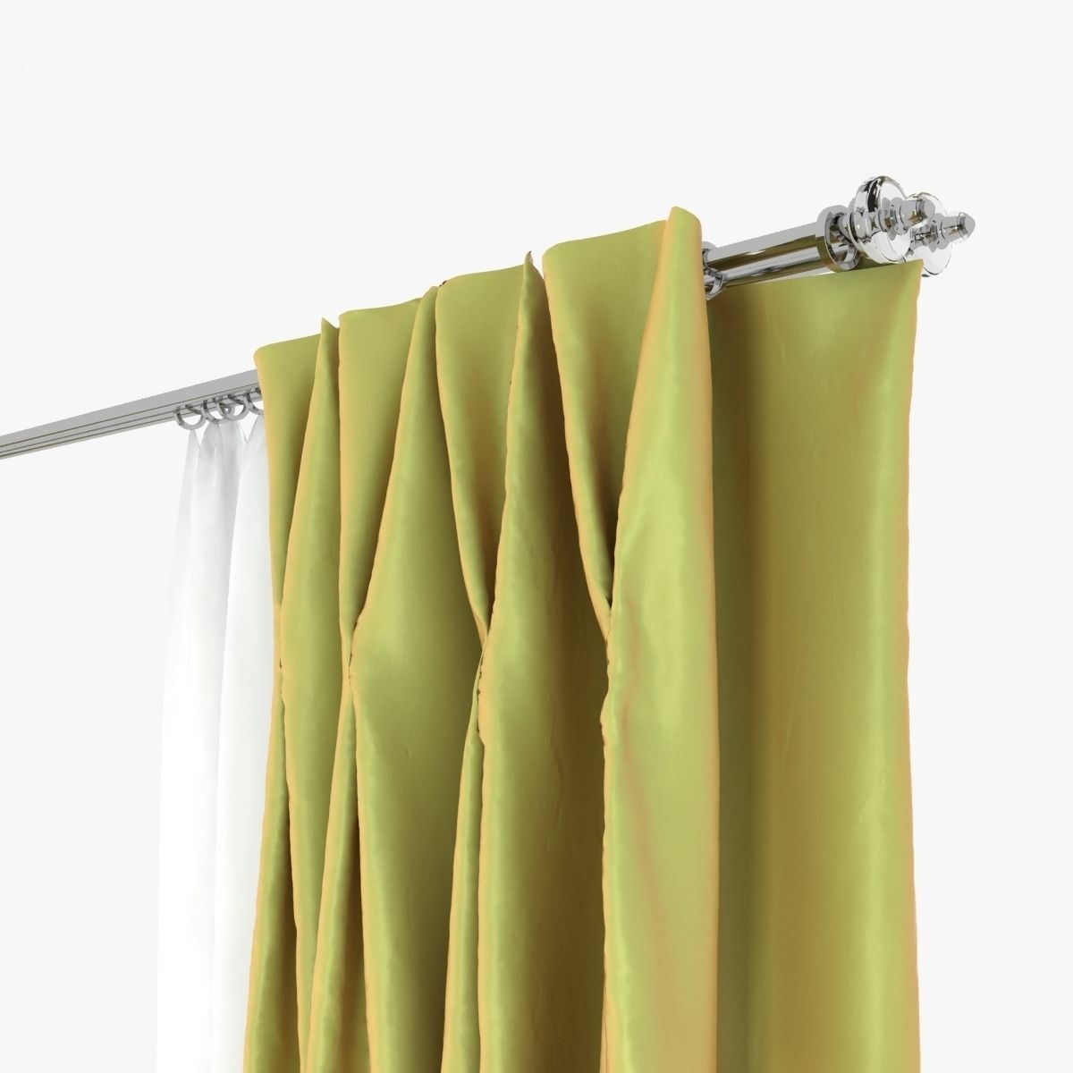 Double Pinch Pleat Curtains 3d Model Max Obj Fbx Mtl Inside Double Pinch Pleat Curtains (Image 4 of 15)