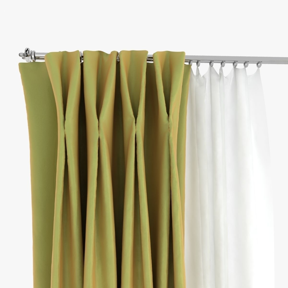 Double Pinch Pleat Curtains 3d Model Max Obj Fbx Mtl Regarding Double Pinch Pleat Curtains (Image 5 of 15)