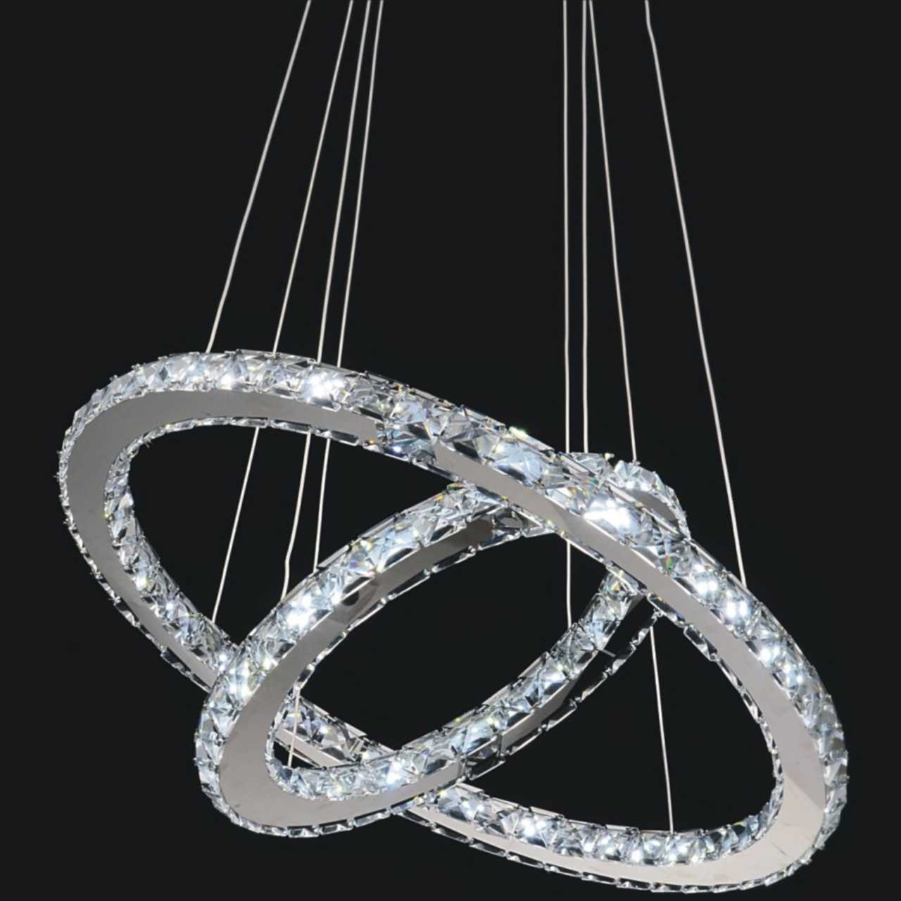 Double Ring Modern Crystal Chandelier Led Lights Modern Crystal Within Modern Led Chandelier (View 6 of 15)