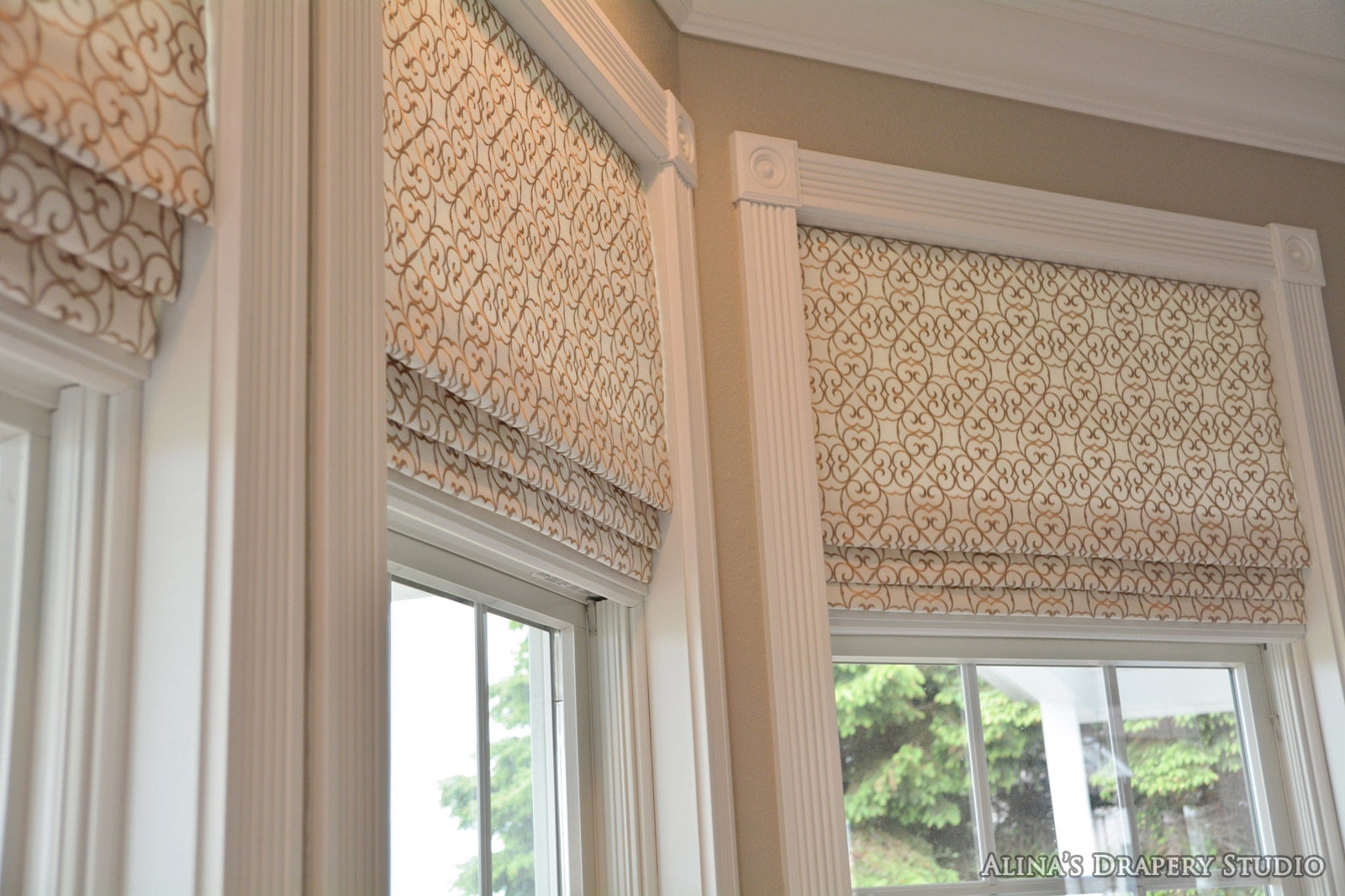 Draperies And Top Treatments Alinas Drapery Studio Within Custom Roman Blinds (Image 3 of 15)