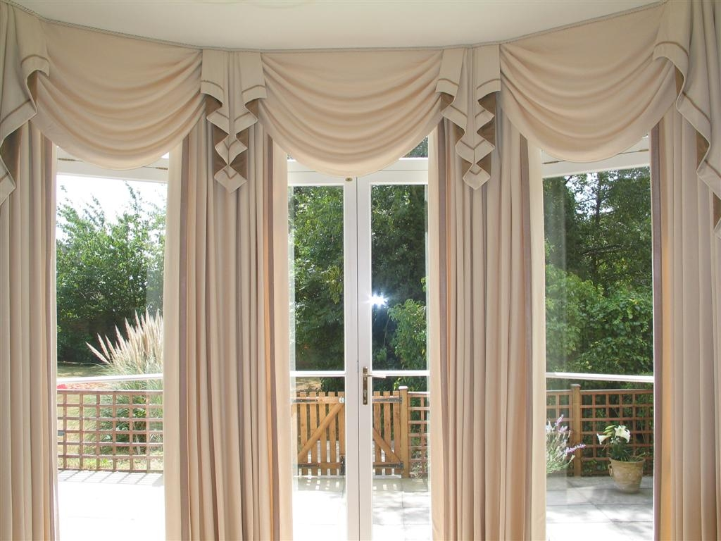 Draperies Designs For Tall Windows Wainwright Swags Standard For Curtains For Round Bay Windows (Image 6 of 15)