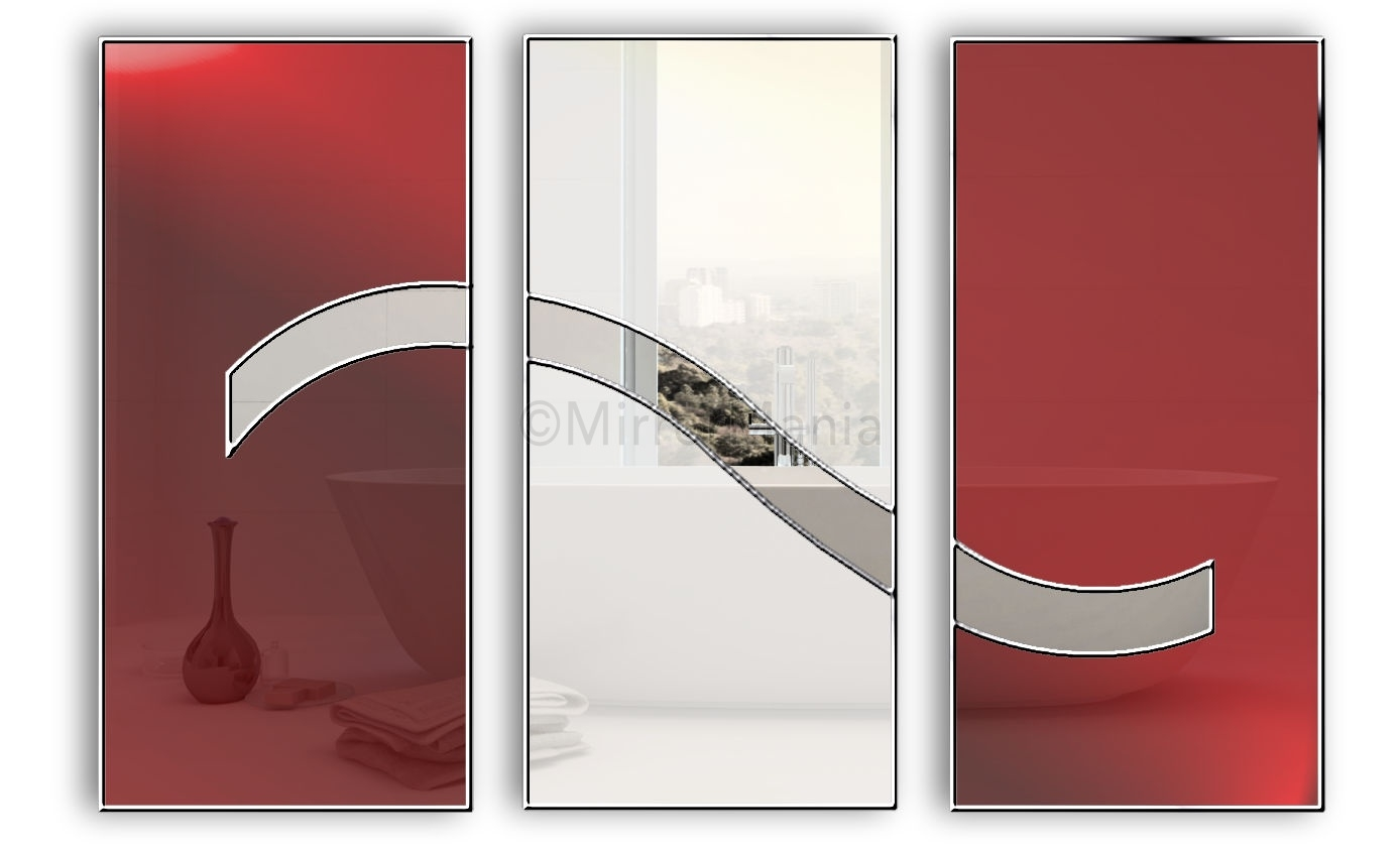 Dreaming Original Handcrafted Coloured Glass Artistic Modern Wall In Red Wall Mirrors (Image 4 of 15)