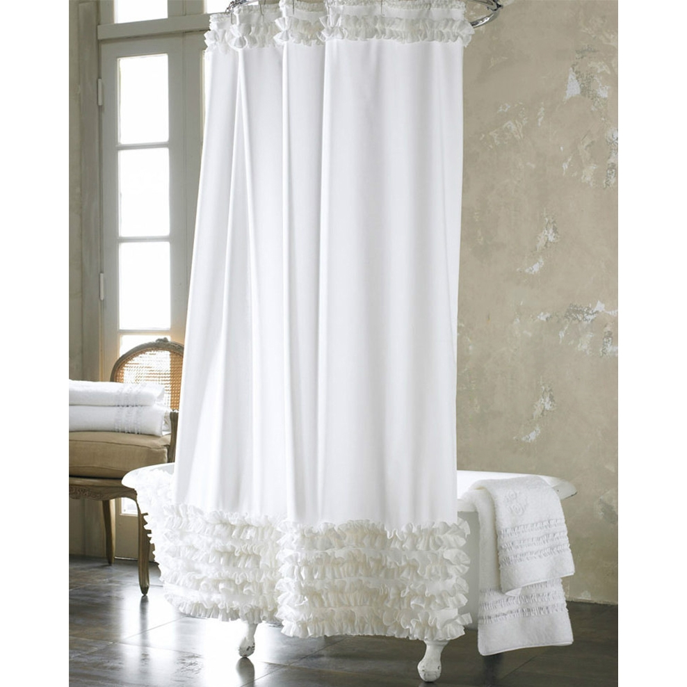 Dreamy French White Lace Luxury Shower Curtains Intended For Luxury White Curtains (Image 5 of 15)