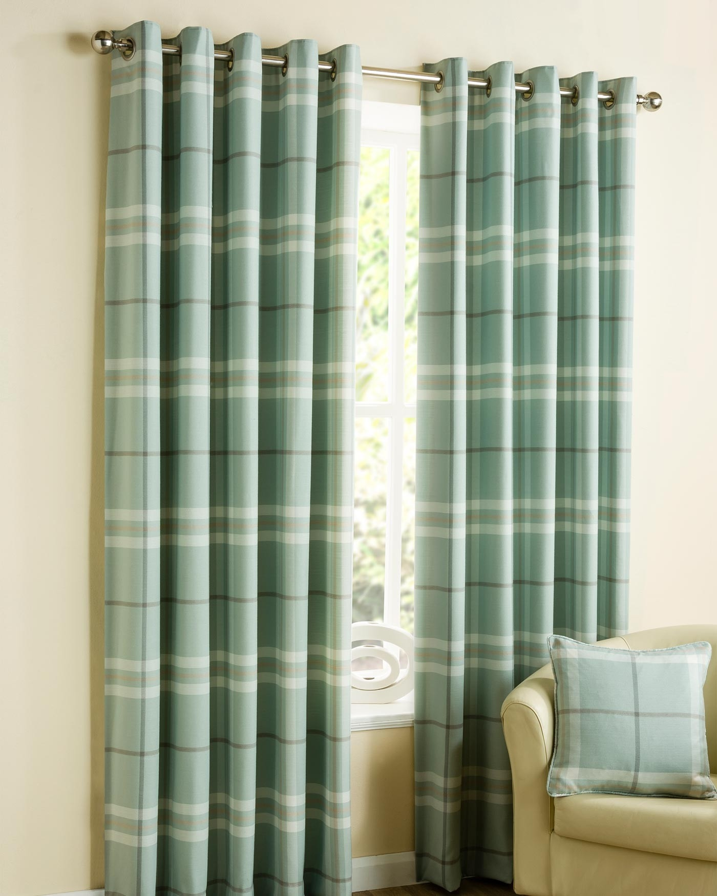 Duck Egg Blue Lomond Tartan Check Eyelet Curtains Belfield Throughout Duck Egg Blue Blackout Curtains (Image 7 of 15)