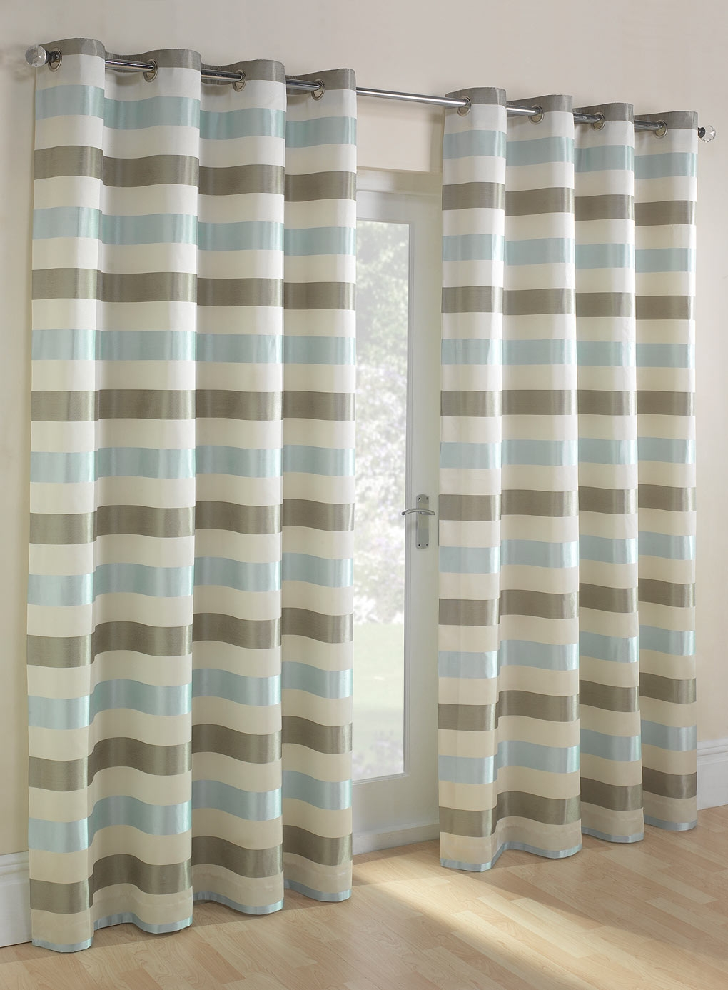 Duck Egg Striped Jacquard Eyelet Curtain Bhs Spare Bedroom With Duck Egg Blue Striped Curtains (View 6 of 15)