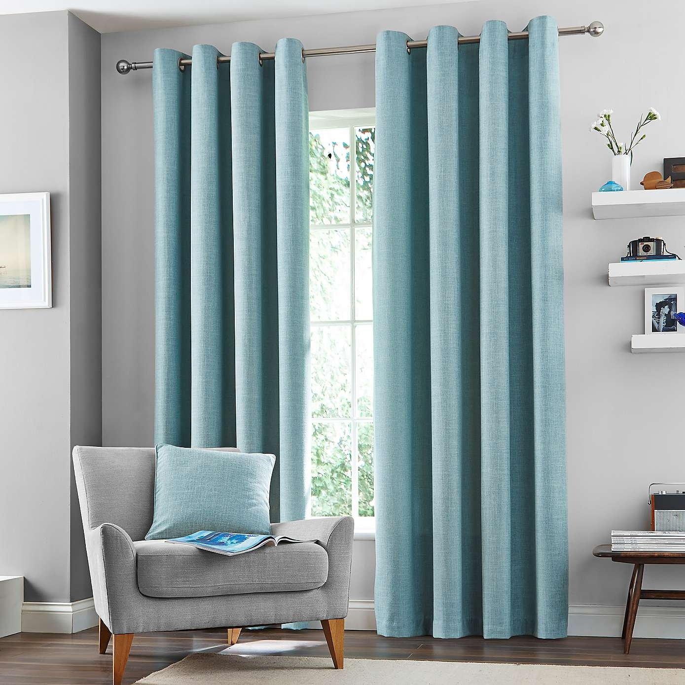 Duck Egg Vermont Lined Eyelet Curtains Dunelm Curtain Ideas In Duck Egg Blue Blackout Curtains (Image 9 of 15)