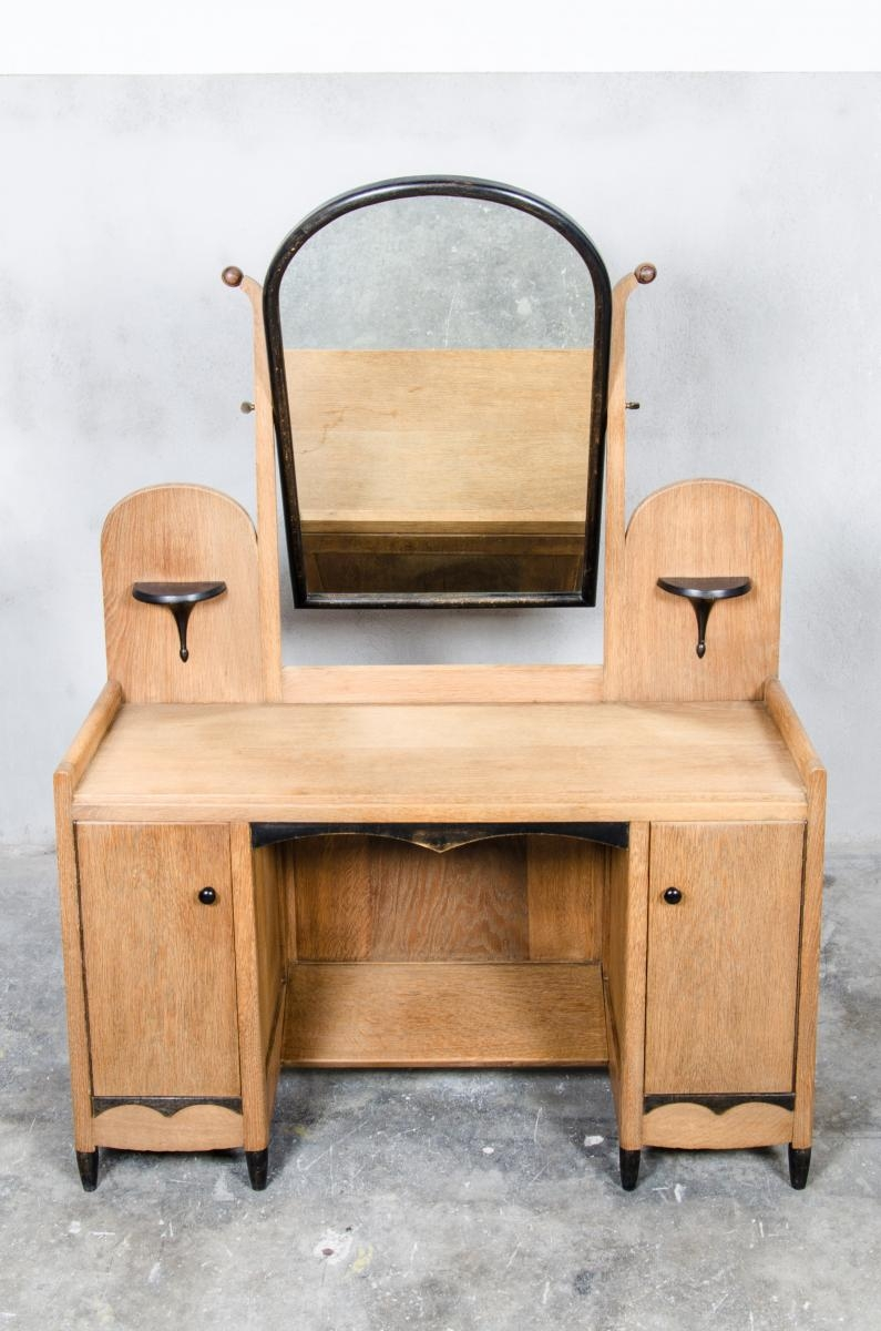 Dutch Art Deco Dressing Table With Mirror 1930s For Sale At Pamono Throughout Art Deco Mirrored Dressing Table (Image 11 of 15)