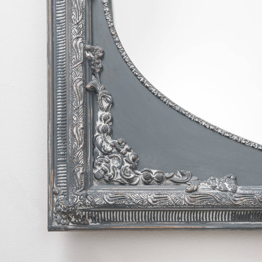 Dutch Oval French Hand Painted Ornate Mirror Hand Crafted Regarding Grey Vintage Mirror (Image 4 of 15)