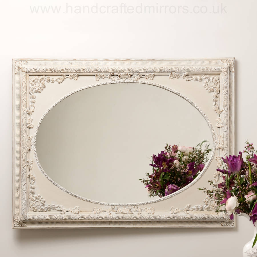 Dutch Oval French Hand Painted Ornate Mirror Hand Crafted Within Oval French Mirror (Image 8 of 15)