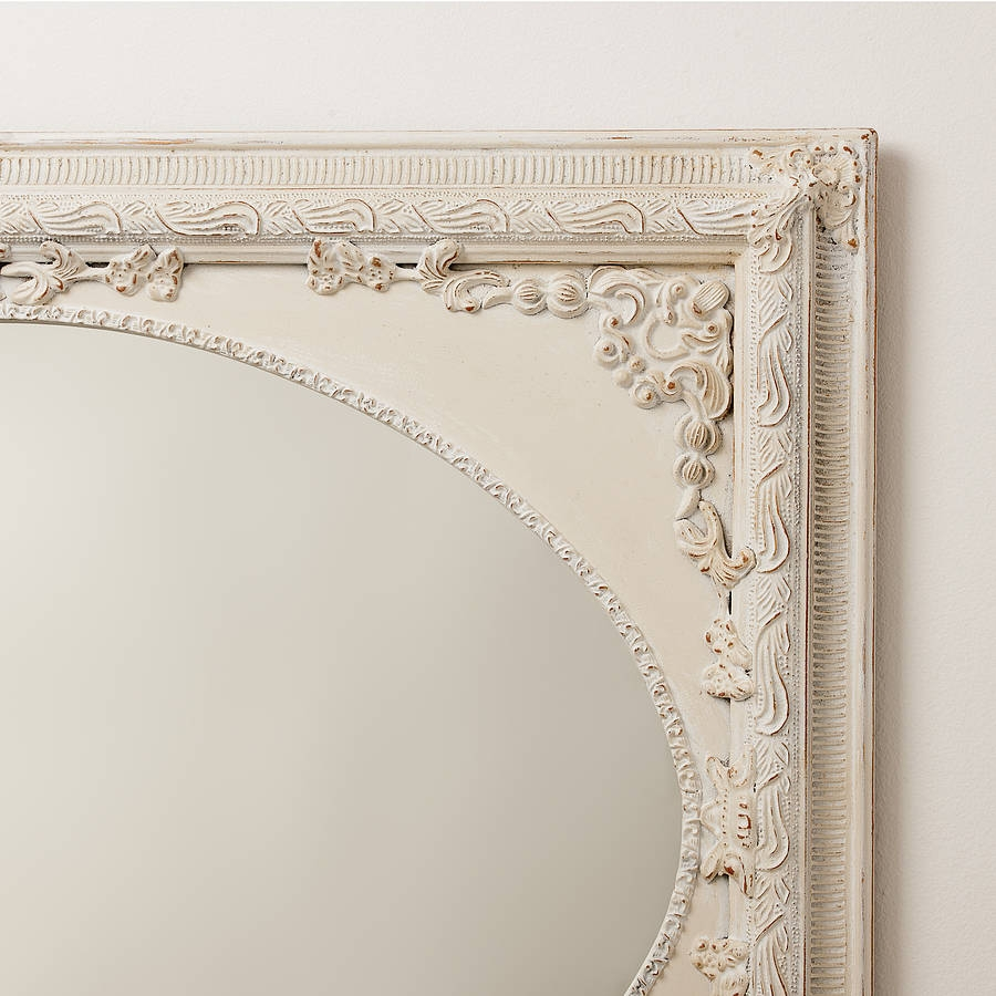 Dutch Oval Ornate Cream Painted Mirror Hand Crafted Mirrors In Distressed Cream Mirror (Image 9 of 15)