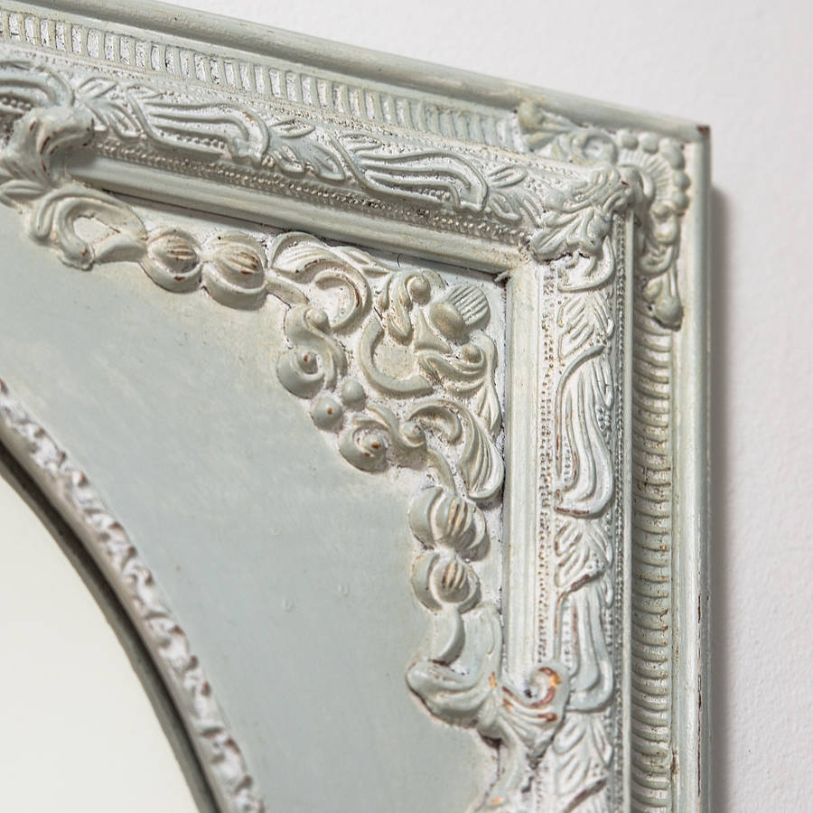 Dutch Oval Ornate Cream Painted Mirror Hand Crafted Mirrors Intended For Distressed Cream Mirror (Image 10 of 15)