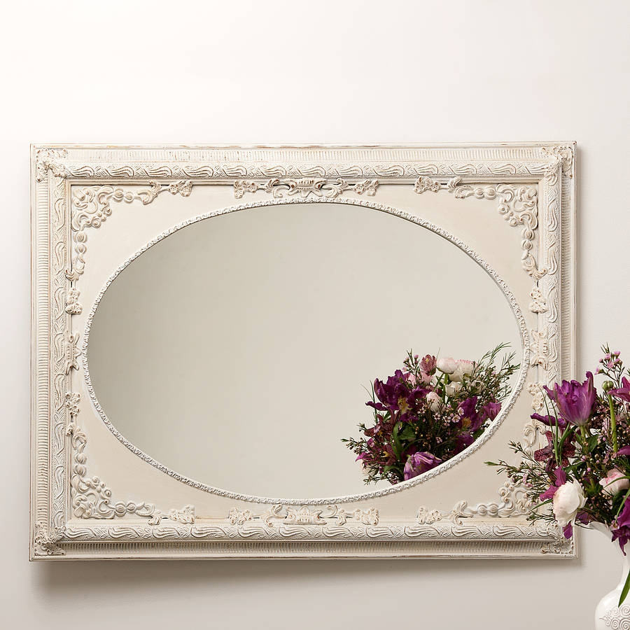 Dutch Oval Ornate Cream Painted Mirror Hand Crafted Mirrors Pertaining To Cream Mirror (Image 9 of 15)